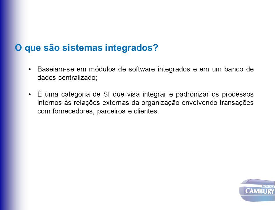 O que são sistemas integrados? Baseiam-se em módulos de software integrados e em um banco de dados centralizado; É uma categoria de SI que visa integr