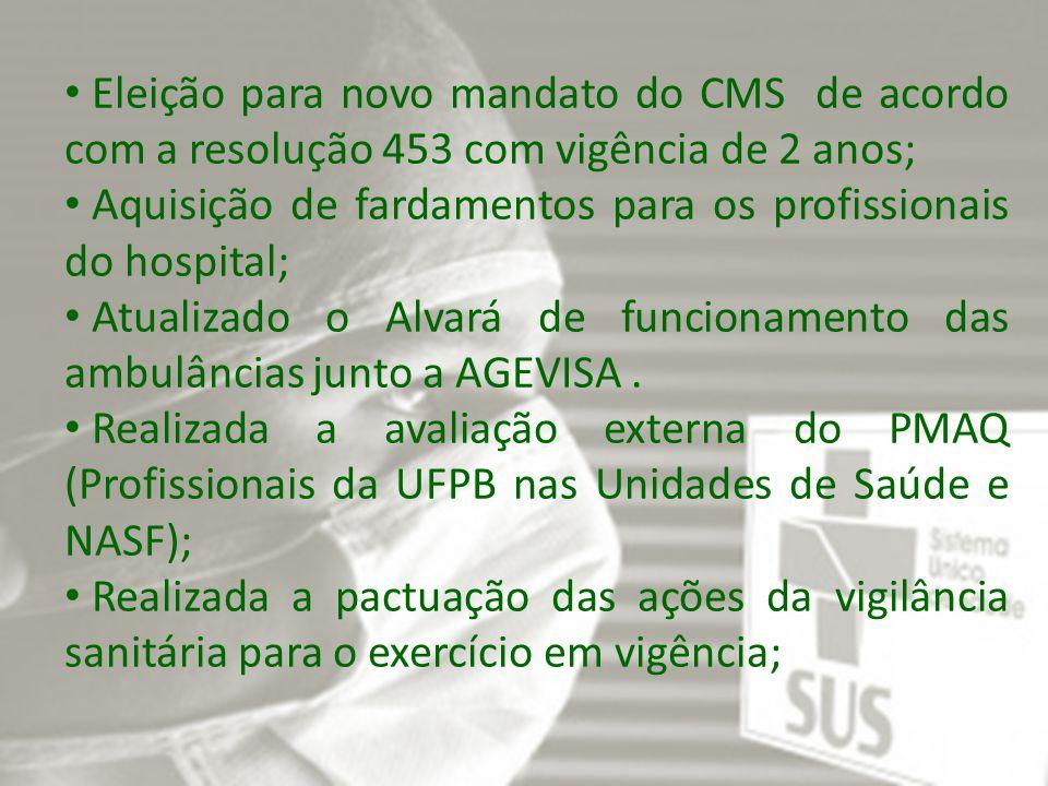 Eleição para novo mandato do CMS de acordo com a resolução 453 com vigência de 2 anos; Aquisição de fardamentos para os profissionais do hospital; Atualizado o Alvará de funcionamento das ambulâncias junto a AGEVISA.