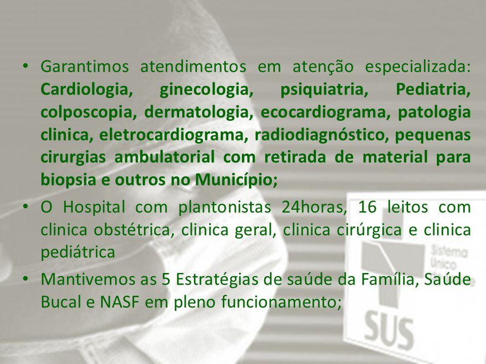Implementamos o PSE (Programa de Saúde nas Escolas); Garantimos o transporte de pacientes para assistência de média e alta complexidade em João Pessoa, Guarabira, Campina Grande e Recife, totalizando em 2.250 pessoas emcaminhadas.