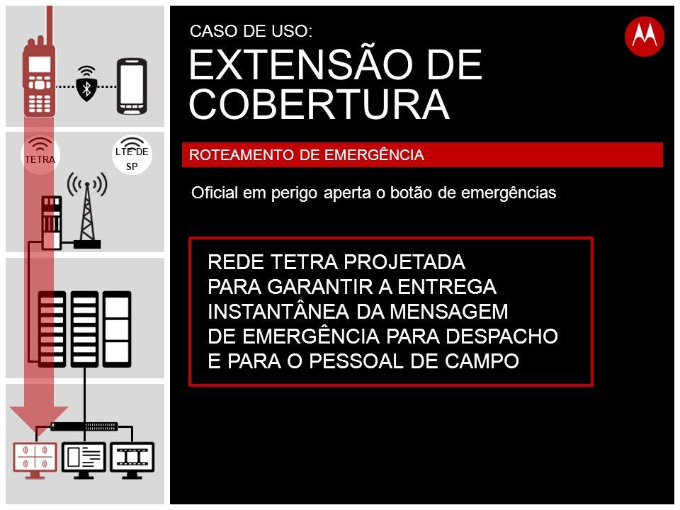 TETRA LTE DE SP REDE TETRA PROJETADA PARA GARANTIR A ENTREGA INSTANTÂNEA DA MENSAGEM DE EMERGÊNCIA PARA DESPACHO E PARA O PESSOAL DE CAMPO ROTEAMENTO DE EMERGÊNCIA Oficial em perigo aperta o botão de emergências EXTENSÃO DE COBERTURA CASO DE USO: