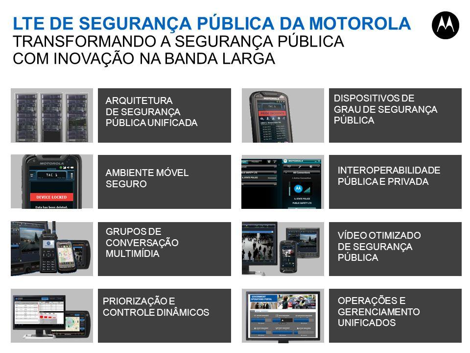 LTE DE SEGURANÇA PÚBLICA DA MOTOROLA TRANSFORMANDO A SEGURANÇA PÚBLICA COM INOVAÇÃO NA BANDA LARGA ARQUITETURA DE SEGURANÇA PÚBLICA UNIFICADA DISPOSITIVOS DE GRAU DE SEGURANÇA PÚBLICA AMBIENTE MÓVEL SEGURO GRUPOS DE CONVERSAÇÃO MULTIMÍDIA PRIORIZAÇÃO E CONTROLE DINÂMICOS VÍDEO OTIMIZADO DE SEGURANÇA PÚBLICA OPERAÇÕES E GERENCIAMENTO UNIFICADOS INTEROPERABILIDADE PÚBLICA E PRIVADA
