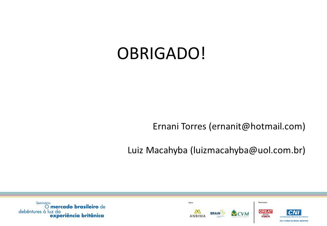 OBRIGADO! Ernani Torres (ernanit@hotmail.com) Luiz Macahyba (luizmacahyba@uol.com.br)