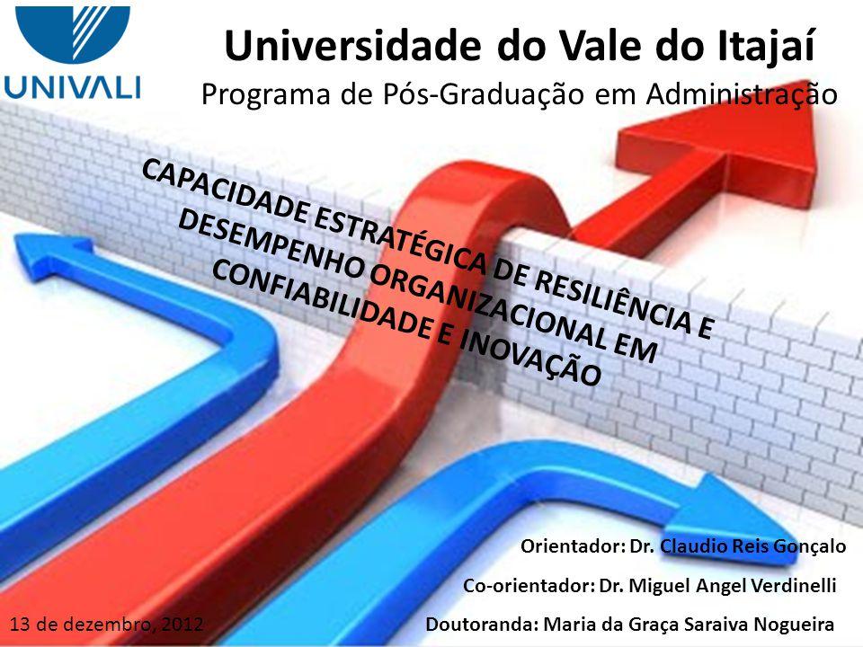 Universidade do Vale do Itajaí Programa de Pós-Graduação em Administração DESEMPEMHO ORGANIZACIONAL - CONFIABILIDADE CAPACIDADE DE APRENDIZAGEM CAPACIDADE DE ADAPTAÇÃO AGILIDADE NAS AÇÕES MUDANÇA COMO OPORTUNIDADE LIDERANÇA ALINHADA COMUNICAÇÃO ABERTA DESEMPEMHO ORGANIZACIONAL - INOVAÇÃO CARACTERÍSTICAS RESILIENTE COMPORTAMENTO RESILIENTE H6 H12 H9 H8 H7 H5 H4 H3 H2 H1 H10 H11 H13 H14 CONCLUSÕES - MODELO CONCEITUAL FINAL