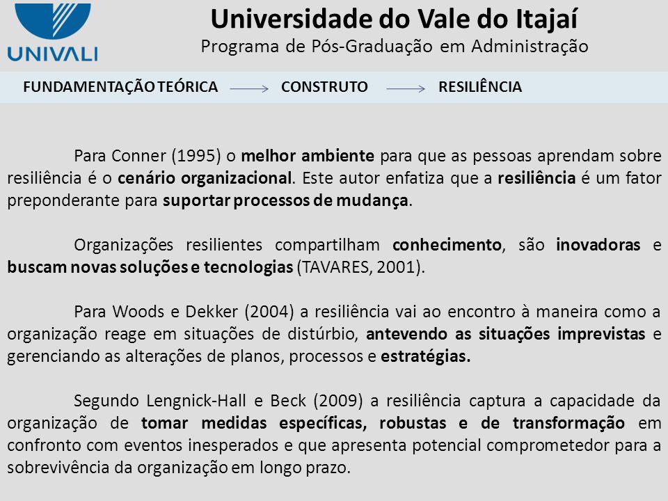 Universidade do Vale do Itajaí Programa de Pós-Graduação em Administração Para Conner (1995) o melhor ambiente para que as pessoas aprendam sobre resi