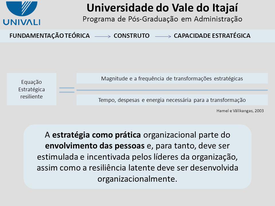 Universidade do Vale do Itajaí Programa de Pós-Graduação em Administração A estratégia como prática organizacional parte do envolvimento das pessoas e