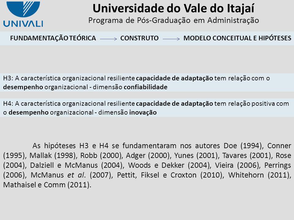 Universidade do Vale do Itajaí Programa de Pós-Graduação em Administração As hipóteses H3 e H4 se fundamentaram nos autores Doe (1994), Conner (1995),