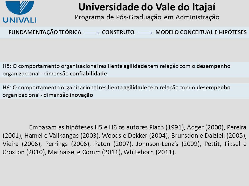 Universidade do Vale do Itajaí Programa de Pós-Graduação em Administração Embasam as hipóteses H5 e H6 os autores Flach (1991), Adger (2000), Pereira