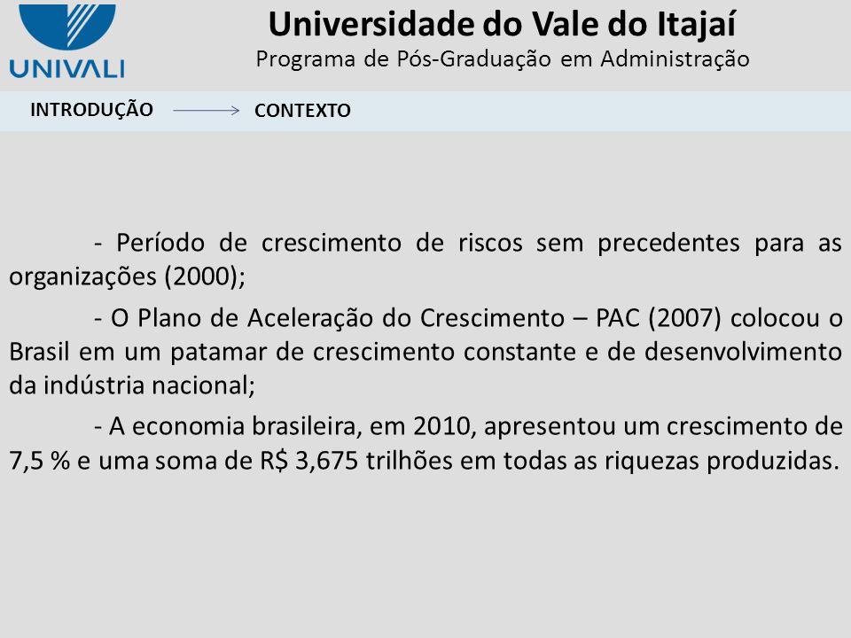 Universidade do Vale do Itajaí Programa de Pós-Graduação em Administração ¹ Valores referência de Byrne (1989) Estimativa e estimativa padronizada CLASSIFICAÇÃOMEDIDA VALORES MÍNIMOS ESPERADOS DIMENSÃO INOVAÇÃO Medidas de ajuste absolutas X²p > 0,050,000 X²/df>2; <5¹5,461 RMSEAInferior a 0,1000,222 Medidas de ajuste incrementais NFI Superior a 0,9000,811 CFI Superior a 0,9000,838 TLI Superior a 0,9000,773 Medidas de ajuste parcimoniosoPNFI Altos valores significam maior parcimônia 0,580 INOVAÇÃOESTIMATIVA ESTIMATIVA PADRONIZADA INO1 0,6730,696 INO2 0,7820,678 INO3 0,9000,829 INO4 0,7960,793 INO5 0,9350,849 INO6 0,8300,701 INO7 1,0000,870 INO80,8950,830 DESEMPENHO ORGANIZACIONAL INOVAÇÃO ANÁLISE FATORIAL CONFIRMATÓRIA RESULTADOS E DISCUSSÕES