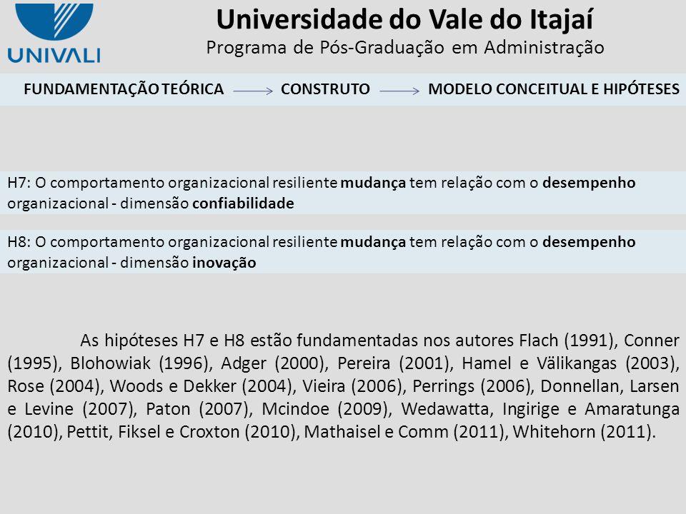 Universidade do Vale do Itajaí Programa de Pós-Graduação em Administração As hipóteses H7 e H8 estão fundamentadas nos autores Flach (1991), Conner (1