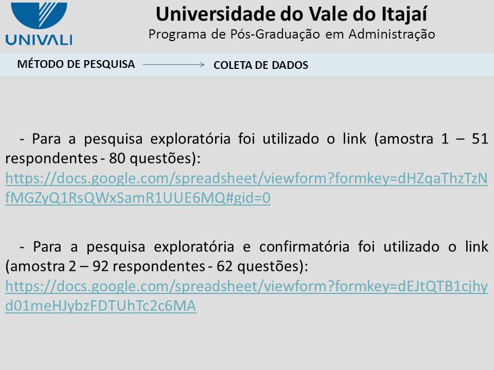 Universidade do Vale do Itajaí Programa de Pós-Graduação em Administração - Para a pesquisa exploratória foi utilizado o link (amostra 1 – 51 responde