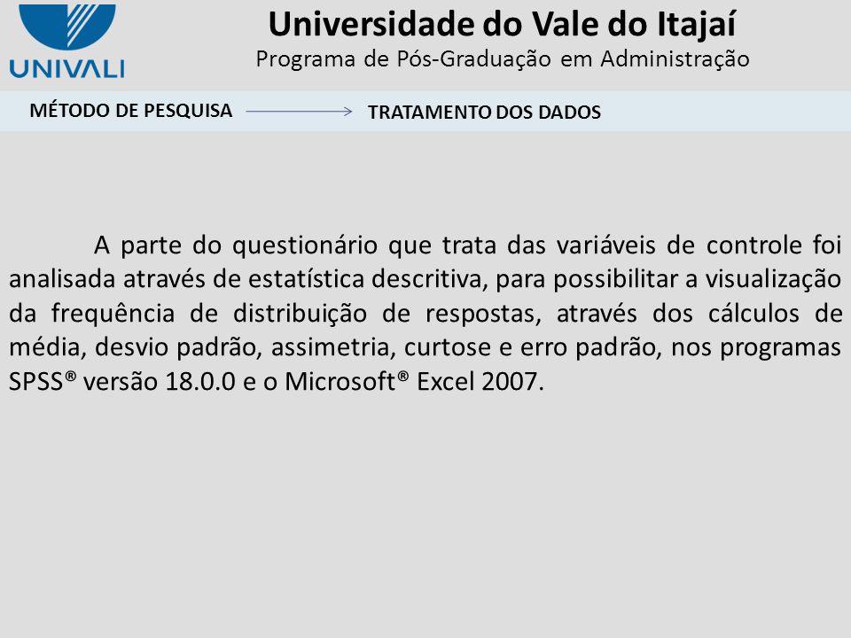 Universidade do Vale do Itajaí Programa de Pós-Graduação em Administração A parte do questionário que trata das variáveis de controle foi analisada at