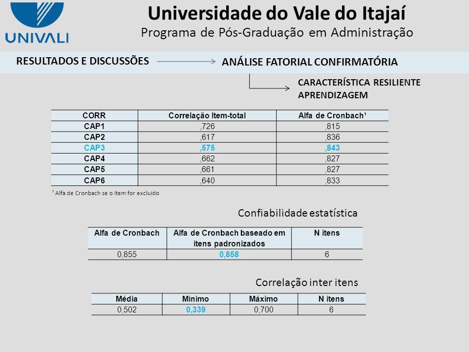 Universidade do Vale do Itajaí Programa de Pós-Graduação em Administração ¹ Alfa de Cronbach se o item for excluído Confiabilidade estatística CORRCor
