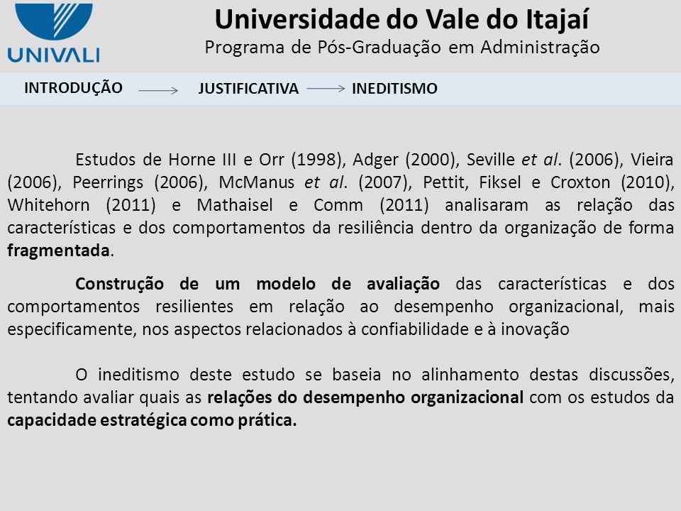 Universidade do Vale do Itajaí Programa de Pós-Graduação em Administração DESEMPEMHO ORGANIZACIONAL - CONFIABILIDADE CAPACIDADE DE APRENDIZAGEM CAPACIDADE DE ADAPTAÇÃO AGILIDADE NAS AÇÕES MUDANÇA COMO OPORTUNIDADE LIDERANÇA ALINHADA COMUNICAÇÃO ABERTA DESEMPEMHO ORGANIZACIONAL - INOVAÇÃO CARACTERÍSTICAS RESILIENTE COMPORTAMENTO RESILIENTE H6 H12 H9 H8 H7 H5 H4 H3 H2 H1 H10 H11 H13 H15 H16 H14 FUNDAMENTAÇÃO TEÓRICACONSTRUTOMODELO CONCEITUAL