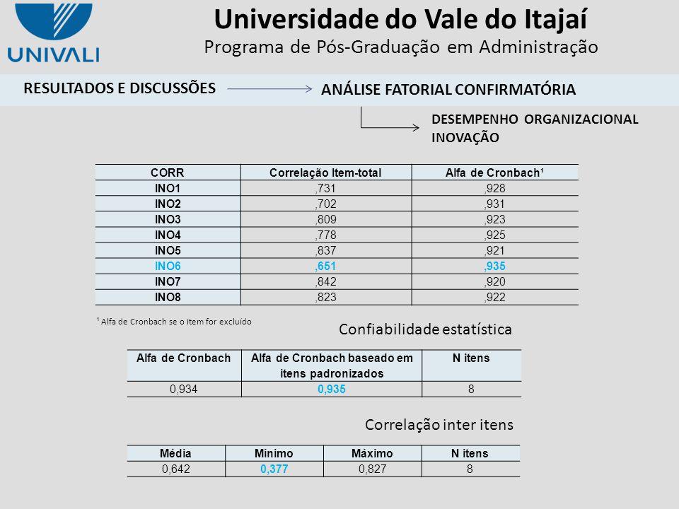 Universidade do Vale do Itajaí Programa de Pós-Graduação em Administração ¹ Alfa de Cronbach se o item for excluído Confiabilidade estatística Correla