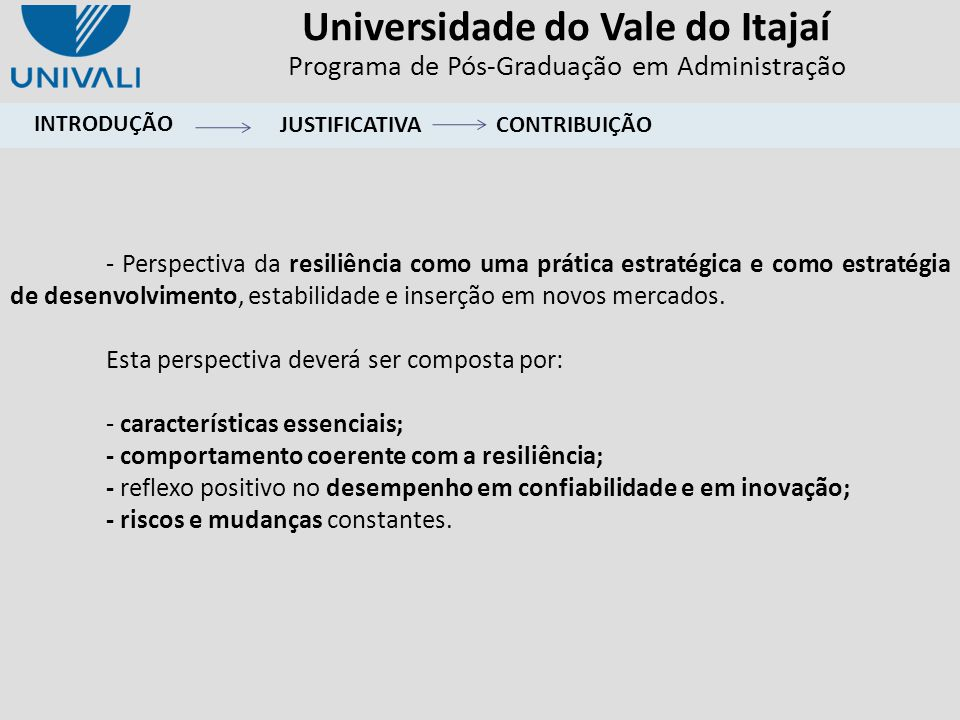 Universidade do Vale do Itajaí Programa de Pós-Graduação em Administração CONCLUSÕES AMBIENTE Modelo de relacionamento na formação da capacidade estratégica de resiliência nas empresas.