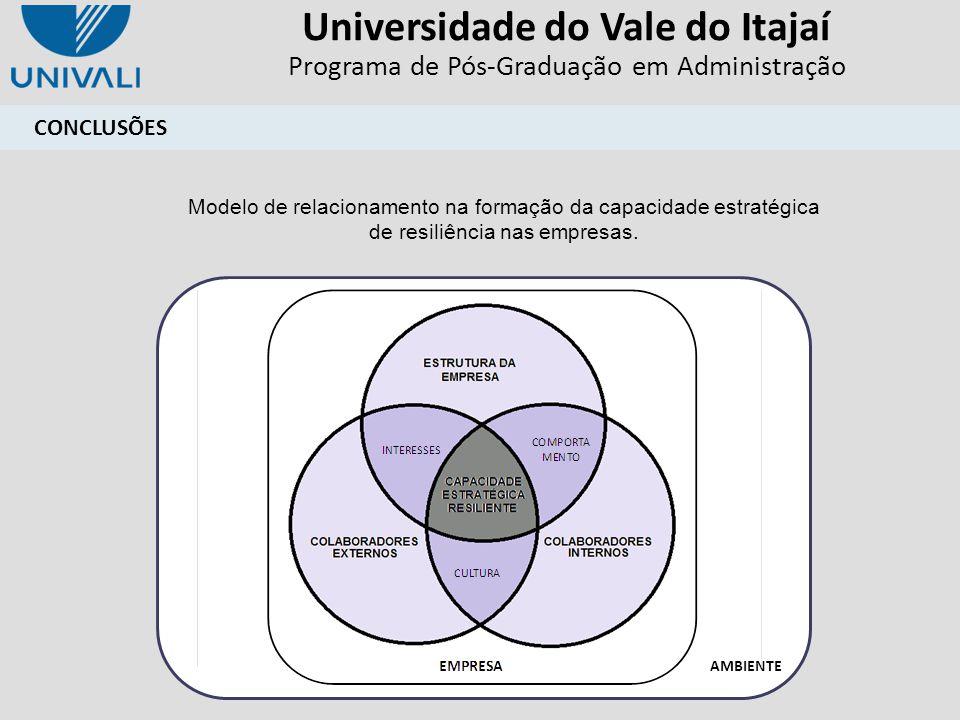 Universidade do Vale do Itajaí Programa de Pós-Graduação em Administração CONCLUSÕES AMBIENTE Modelo de relacionamento na formação da capacidade estra