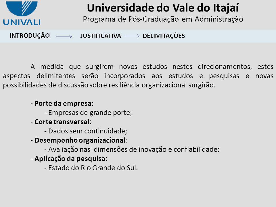 Universidade do Vale do Itajaí Programa de Pós-Graduação em Administração INTRODUÇÃO A medida que surgirem novos estudos nestes direcionamentos, estes