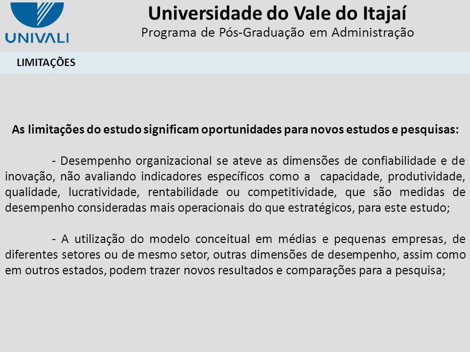 Universidade do Vale do Itajaí Programa de Pós-Graduação em Administração LIMITAÇÕES As limitações do estudo significam oportunidades para novos estud