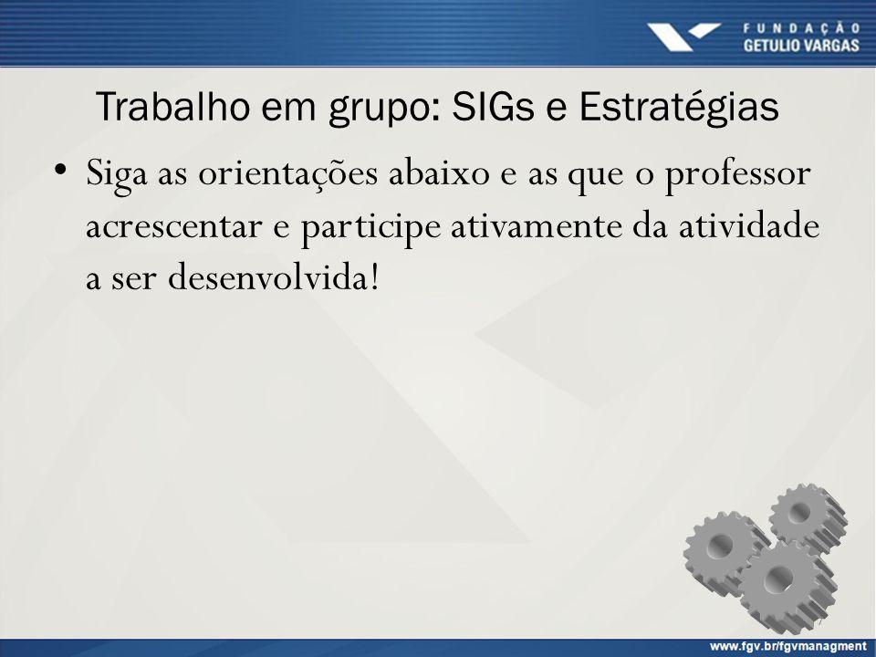 Trabalho em grupo: SIGs e Estratégias Siga as orientações abaixo e as que o professor acrescentar e participe ativamente da atividade a ser desenvolvi
