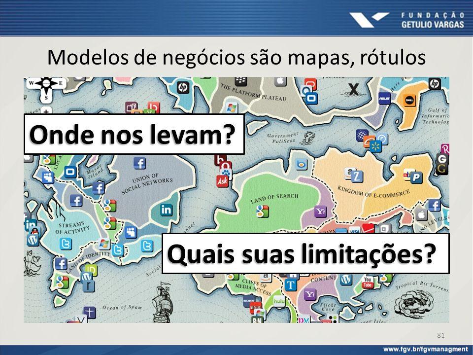 Modelos de negócios são mapas, rótulos 81 Onde nos levam? Quais suas limitações?