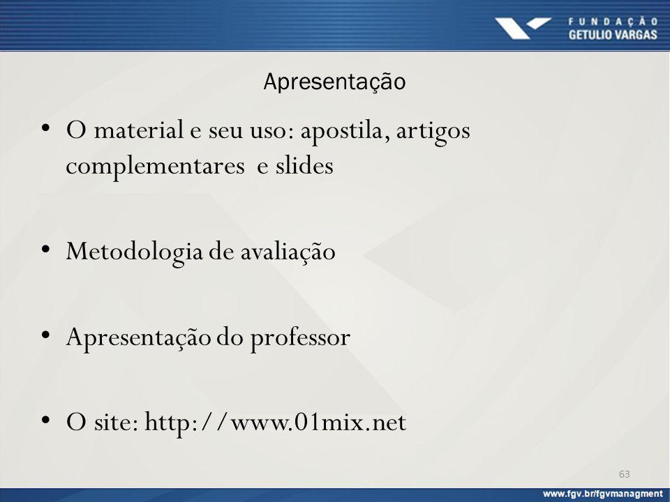 Apresentação O material e seu uso: apostila, artigos complementares e slides Metodologia de avaliação Apresentação do professor O site: http://www.01m