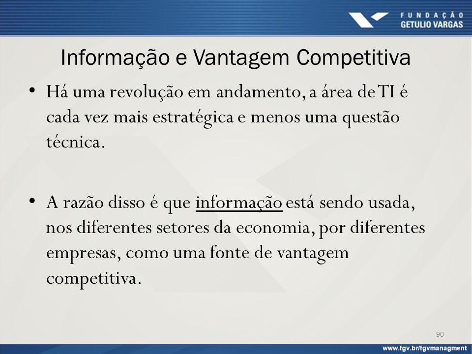 Informação e Vantagem Competitiva Há uma revolução em andamento, a área de TI é cada vez mais estratégica e menos uma questão técnica. A razão disso é