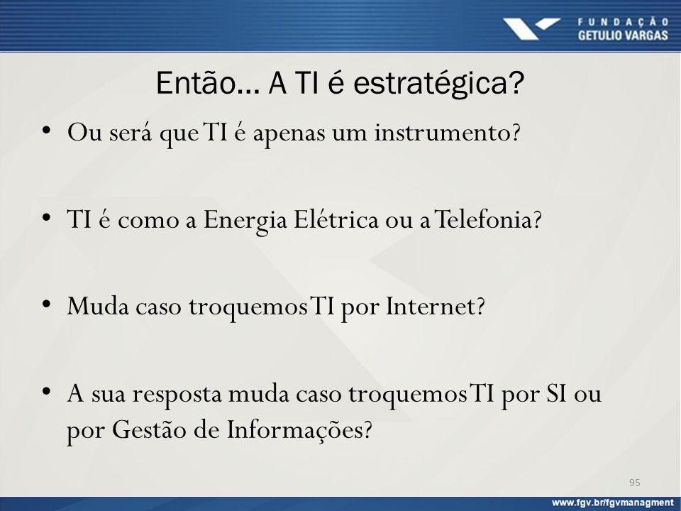 Então… A TI é estratégica? Ou será que TI é apenas um instrumento? TI é como a Energia Elétrica ou a Telefonia? Muda caso troquemos TI por Internet? A