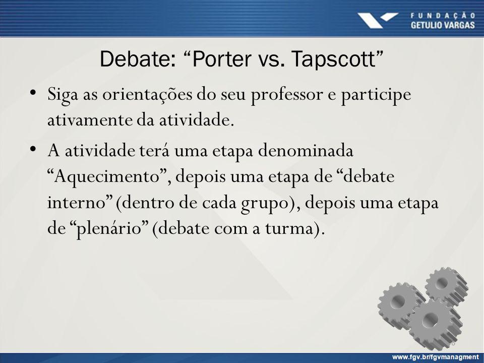 """Debate: """"Porter vs. Tapscott"""" Siga as orientações do seu professor e participe ativamente da atividade. A atividade terá uma etapa denominada """"Aquecim"""