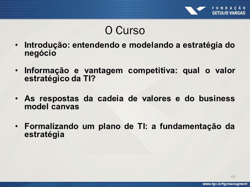 O Curso Introdução: entendendo e modelando a estratégia do negócio Informação e vantagem competitiva: qual o valor estratégico da TI? As respostas da