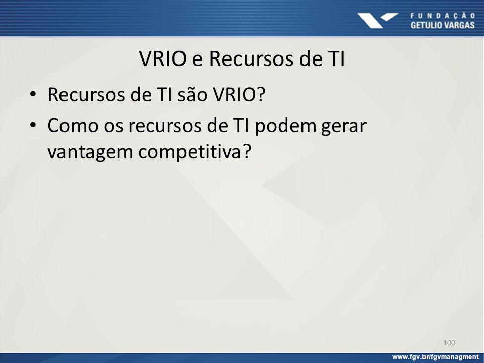 VRIO e Recursos de TI Recursos de TI são VRIO? Como os recursos de TI podem gerar vantagem competitiva? 100