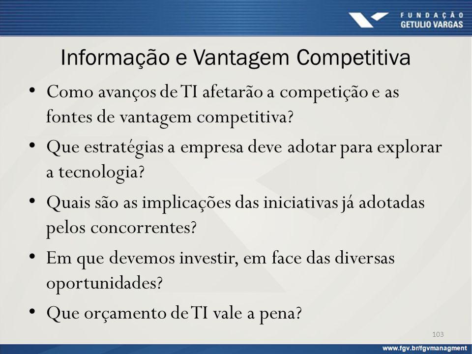 Informação e Vantagem Competitiva Como avanços de TI afetarão a competição e as fontes de vantagem competitiva? Que estratégias a empresa deve adotar