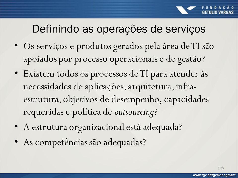 Definindo as operações de serviços Os serviços e produtos gerados pela área de TI são apoiados por processo operacionais e de gestão? Existem todos os
