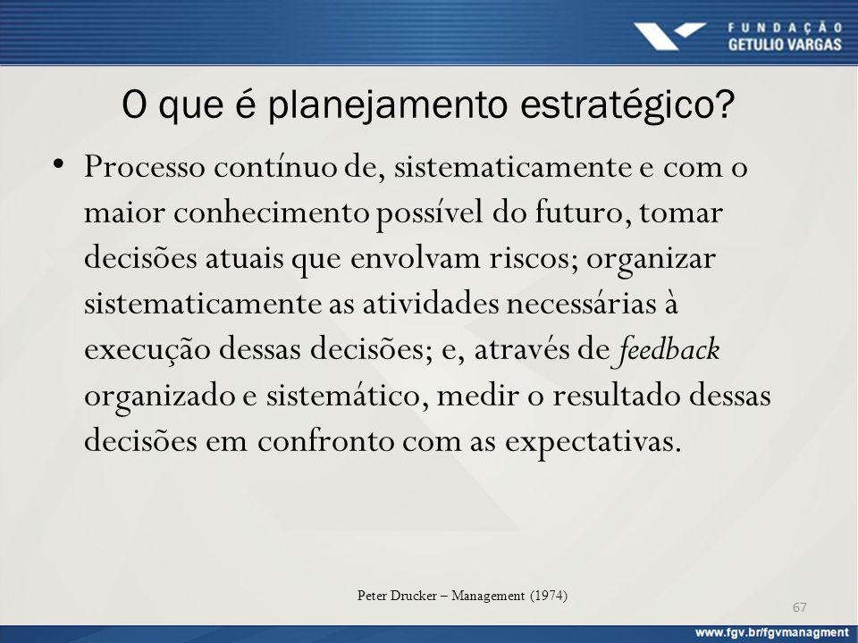 O que é planejamento estratégico? Processo contínuo de, sistematicamente e com o maior conhecimento possível do futuro, tomar decisões atuais que envo
