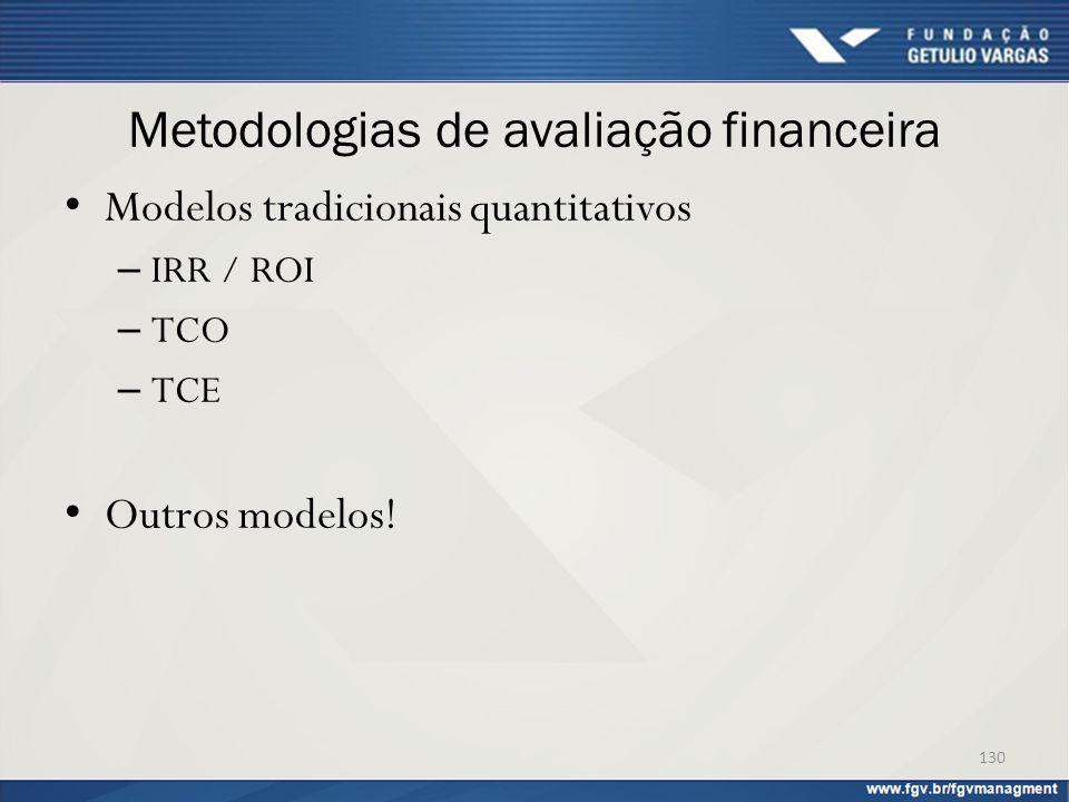Metodologias de avaliação financeira Modelos tradicionais quantitativos – IRR / ROI – TCO – TCE Outros modelos! 130