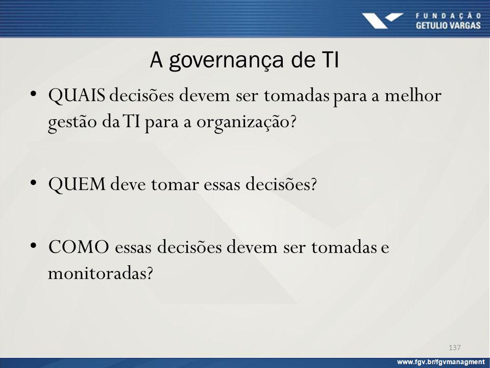A governança de TI QUAIS decisões devem ser tomadas para a melhor gestão da TI para a organização? QUEM deve tomar essas decisões? COMO essas decisões