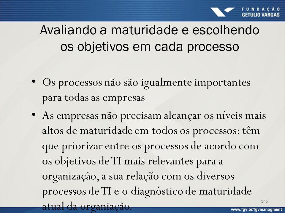 Avaliando a maturidade e escolhendo os objetivos em cada processo Os processos não são igualmente importantes para todas as empresas As empresas não p