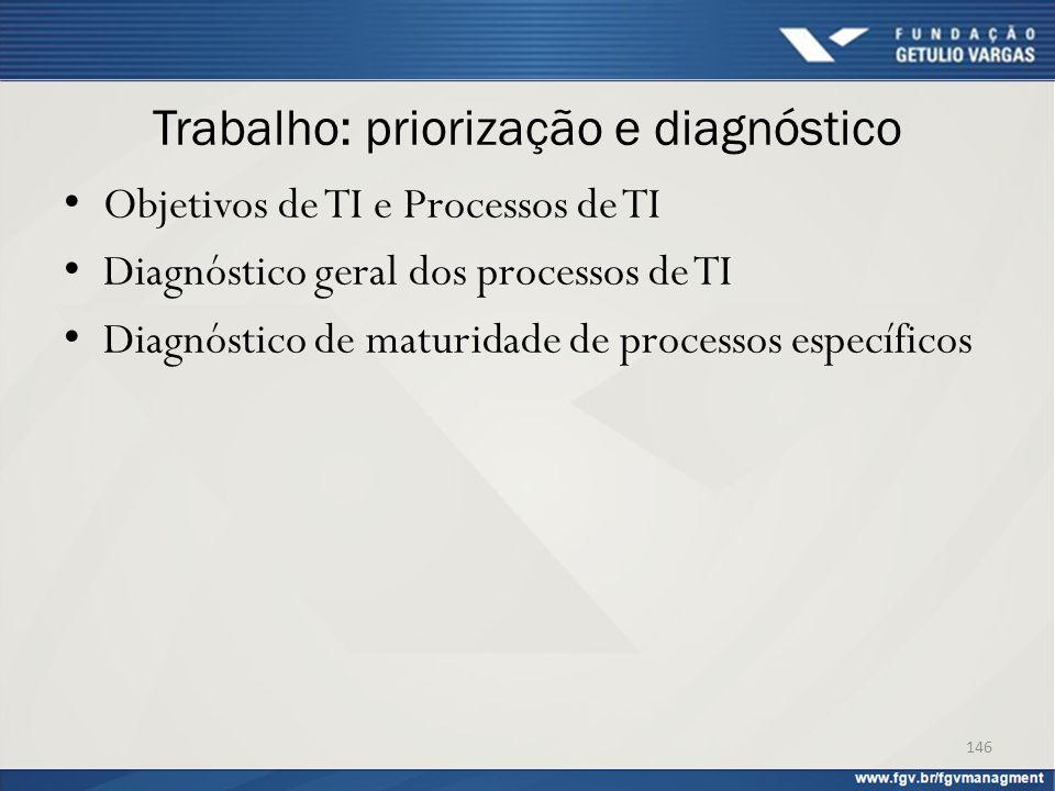 Trabalho: priorização e diagnóstico Objetivos de TI e Processos de TI Diagnóstico geral dos processos de TI Diagnóstico de maturidade de processos esp