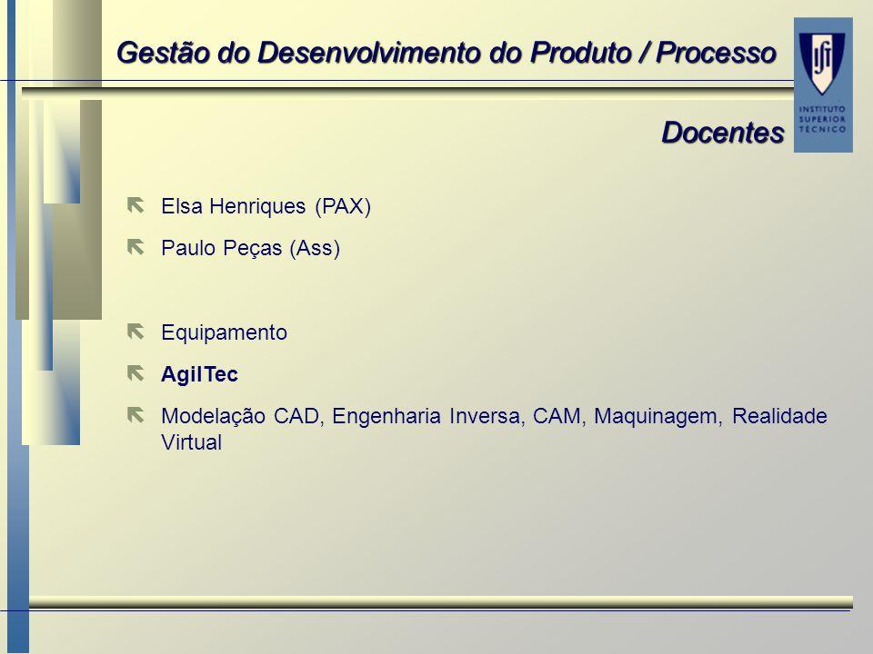 ë ë Elsa Henriques (PAX) ë ë Paulo Peças (Ass) ë ë Equipamento ë ë AgilTec ë ë Modelação CAD, Engenharia Inversa, CAM, Maquinagem, Realidade Virtual D
