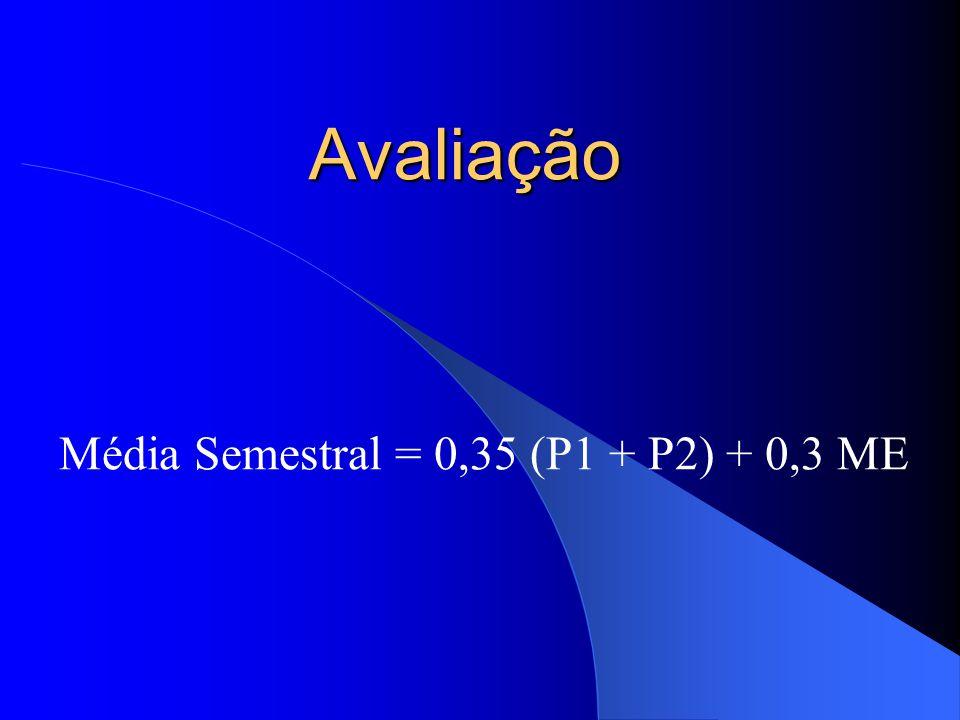 Avaliação Média Semestral = 0,35 (P1 + P2) + 0,3 ME