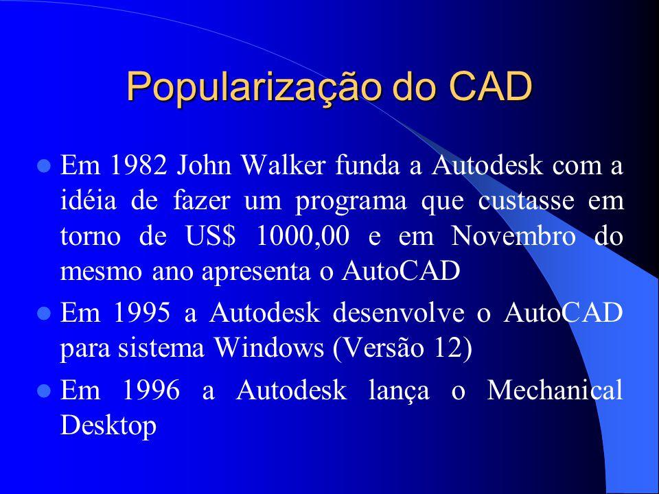 Popularização do CAD Em 1982 John Walker funda a Autodesk com a idéia de fazer um programa que custasse em torno de US$ 1000,00 e em Novembro do mesmo ano apresenta o AutoCAD Em 1995 a Autodesk desenvolve o AutoCAD para sistema Windows (Versão 12) Em 1996 a Autodesk lança o Mechanical Desktop