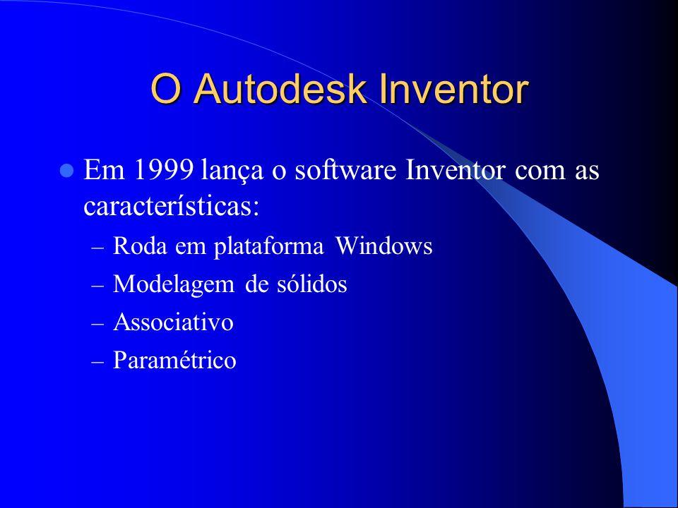O Autodesk Inventor Em 1999 lança o software Inventor com as características: – Roda em plataforma Windows – Modelagem de sólidos – Associativo – Para