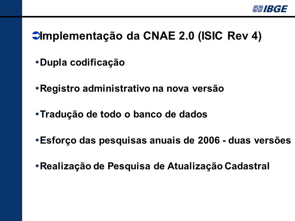  Dupla codificação  Registro administrativo na nova versão  Tradução de todo o banco de dados  Esforço das pesquisas anuais de 2006 - duas versões  Realização de Pesquisa de Atualização Cadastral  Implementação da CNAE 2.0 (ISIC Rev 4)