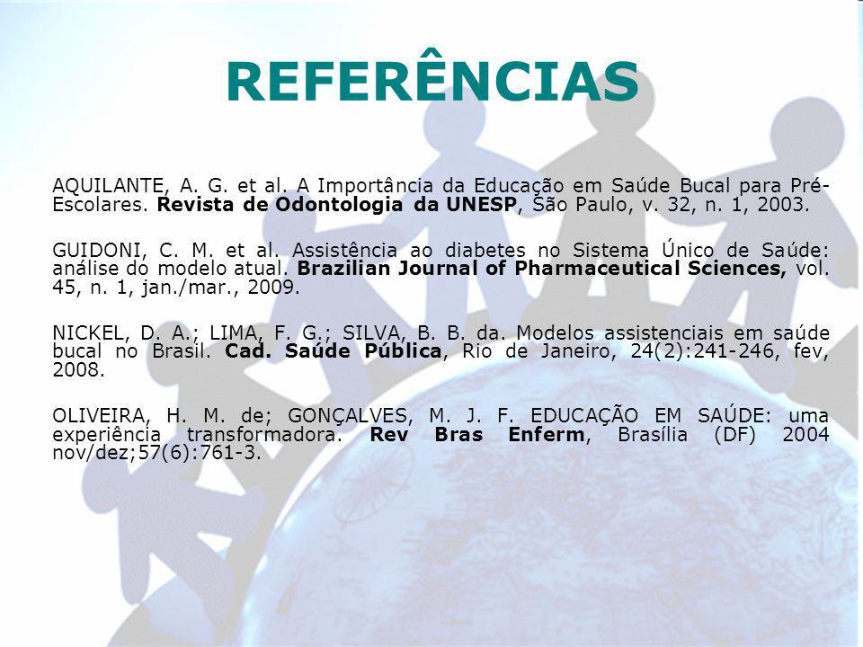 REFERÊNCIAS AQUILANTE, A. G. et al. A Importância da Educação em Saúde Bucal para Pré- Escolares.