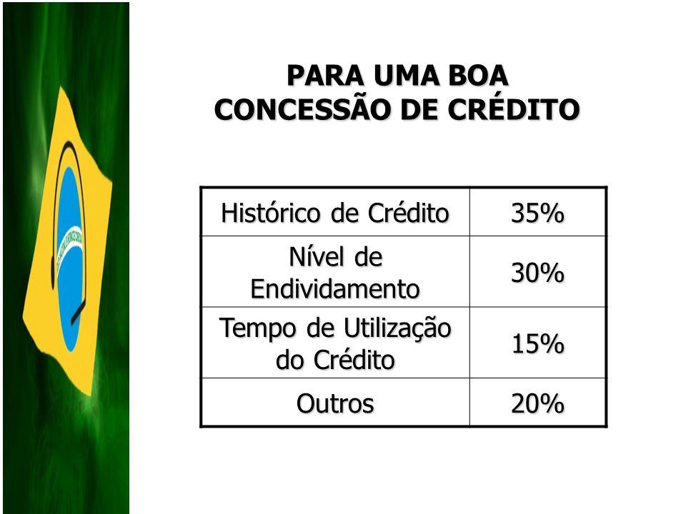 Histórico de Crédito 35% Nível de Endividamento 30% Tempo de Utilização do Crédito 15% Outros20% PARA UMA BOA CONCESSÃO DE CRÉDITO