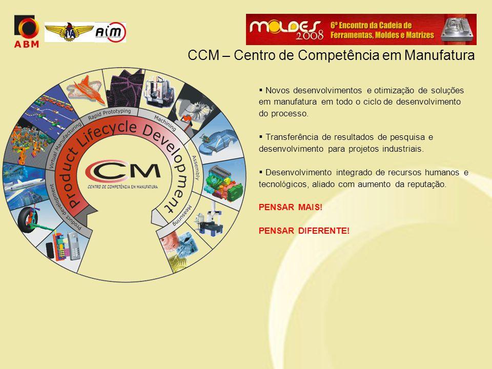 CCM – Centro de Competência em Manufatura  Novos desenvolvimentos e otimiza ç ão de solu ç ões em manufatura em todo o ciclo de desenvolvimento do processo.