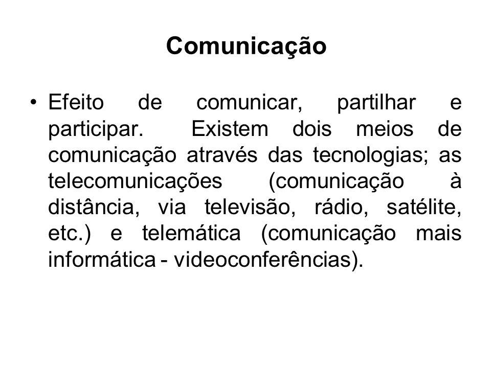 Comunicação Efeito de comunicar, partilhar e participar. Existem dois meios de comunicação através das tecnologias; as telecomunicações (comunicação à