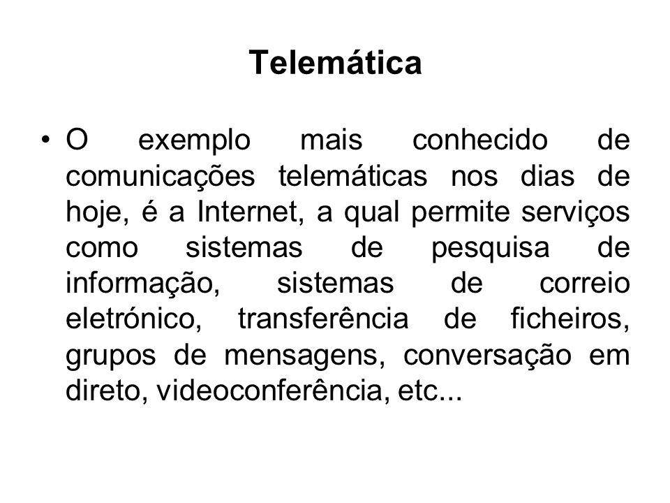 Telemática O exemplo mais conhecido de comunicações telemáticas nos dias de hoje, é a Internet, a qual permite serviços como sistemas de pesquisa de i