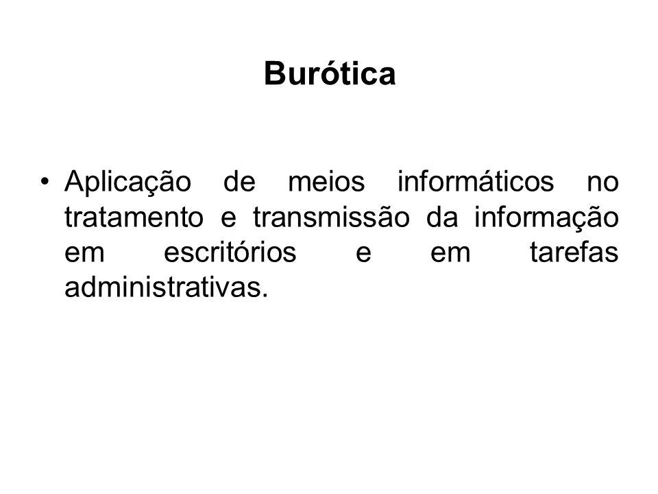 Burótica Aplicação de meios informáticos no tratamento e transmissão da informação em escritórios e em tarefas administrativas.