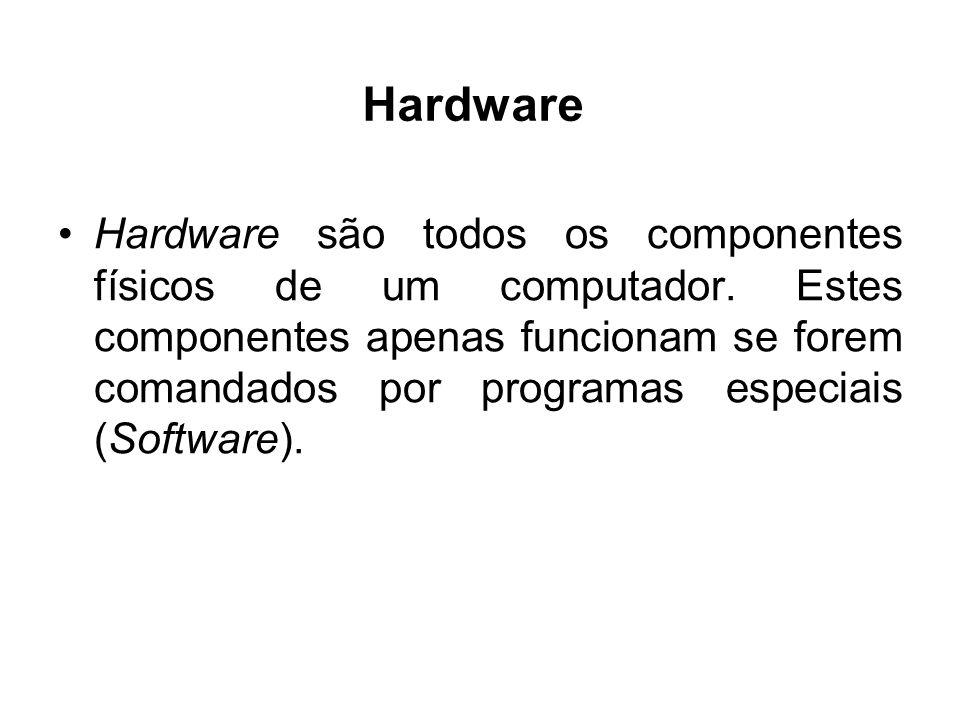 Hardware Hardware são todos os componentes físicos de um computador. Estes componentes apenas funcionam se forem comandados por programas especiais (S
