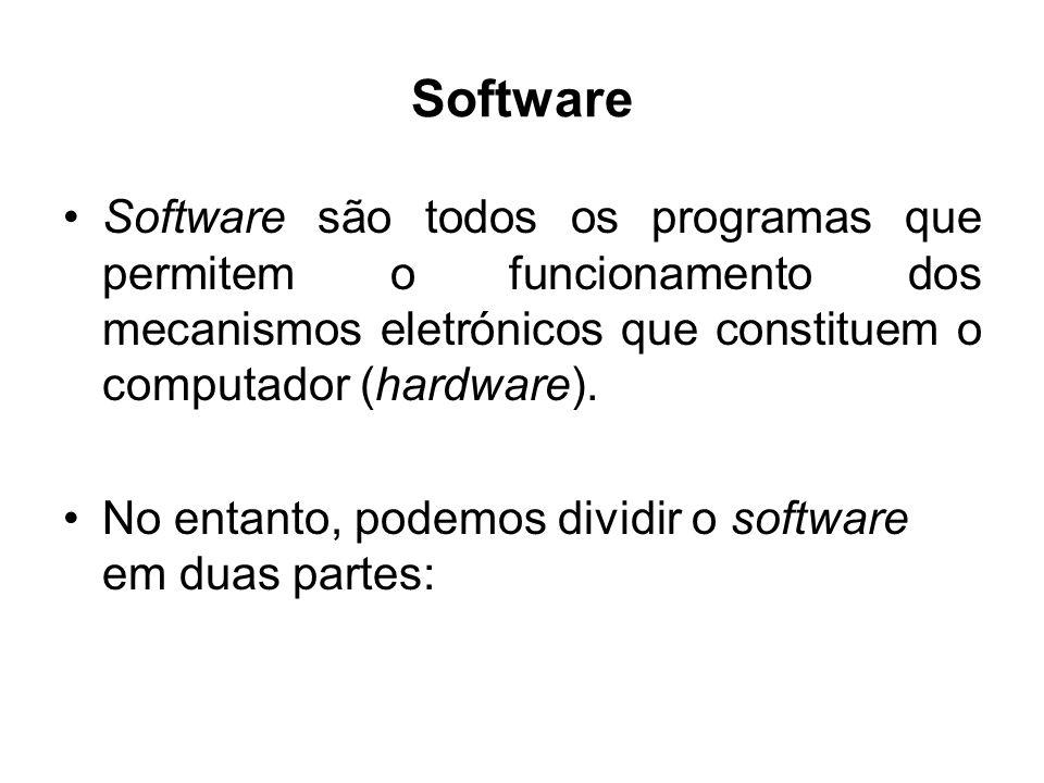 Software Software são todos os programas que permitem o funcionamento dos mecanismos eletrónicos que constituem o computador (hardware). No entanto, p